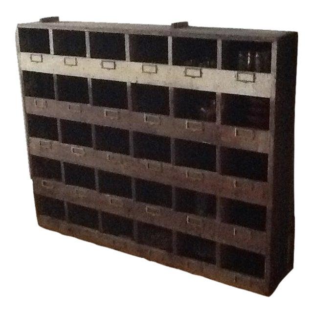 Vintage Industrial Wood Pigeon Hole Storage Shelves - Image 1 of 10