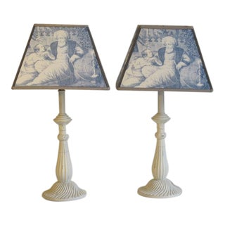 Lamps with Mary Jane McCarthy Fabric Shades - A Pair