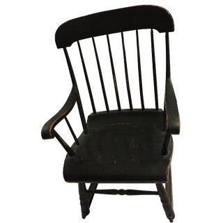 Old Country Black Wood Rocking Chair