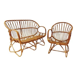 1960s Bent Bamboo Settee & Chair Set