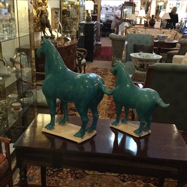 Turquoise Ceramic Horses - A Pair - Image 4 of 5