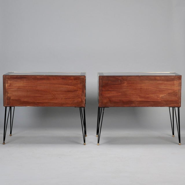 Pair of Italian Two-Drawer Cabinets with Murano Glass and Brass Inlays - Image 5 of 11