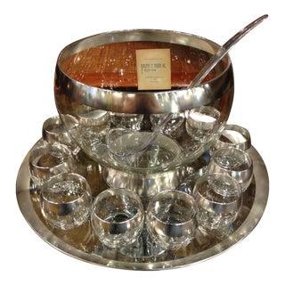 Dorothy Thorpe Silver Band Punch Bowl Set