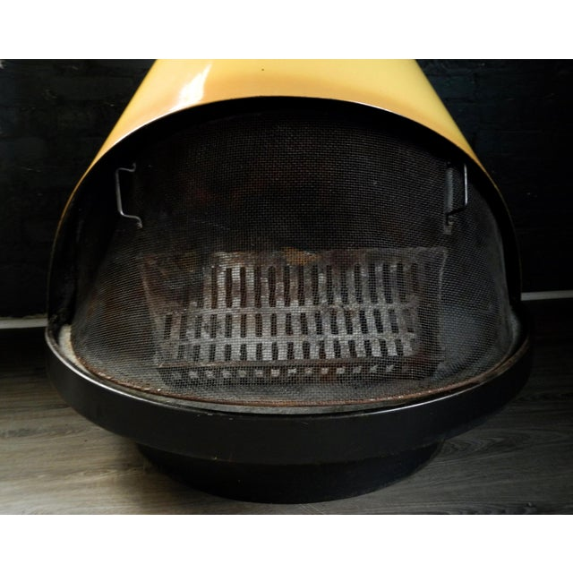 Mid-Century Indoor/Outdoor Preway Yellow Enamel Fireplace - Image 8 of 8