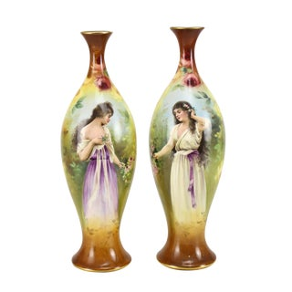 Franz Anton Mehlem Royal Bonn Porcelain Hand Painted Portait Vases - A Pair