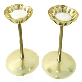Mid Century Tealight Candle Holders - Pair