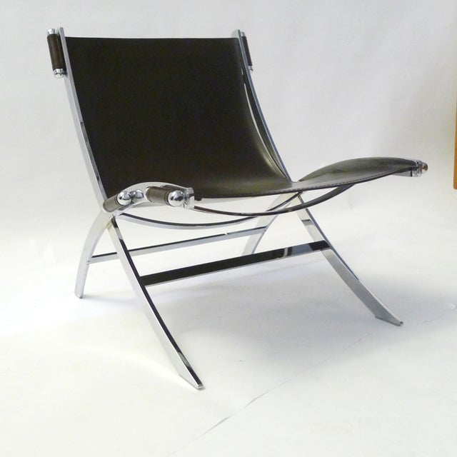 Leather And Chrome Sling Chair Paul Tuttle Chairish