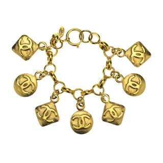 Chanel Vintage Gold 7 Diamond Shape Charm Bracelet