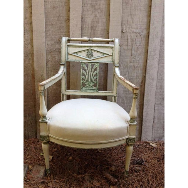 Pair of French Empire Painted Fauteuils - Image 2 of 5