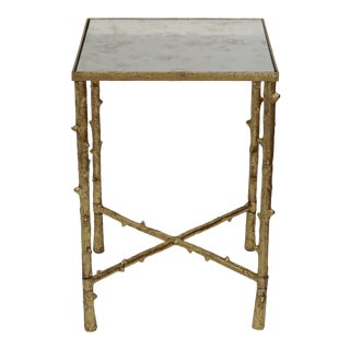 Contemporary Iron Mirror Top Square Side Table