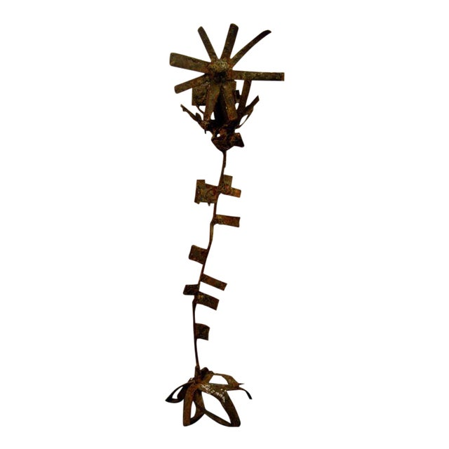 Image of Brutalist Iron & Bronze Sunflower Sculpture Signed Faizman