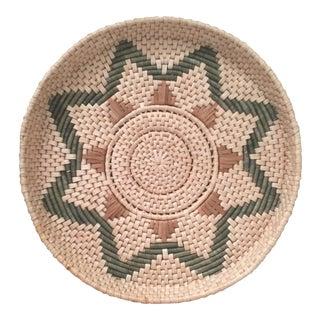Large Handwoven Boho Moroccan African Southwestern Decorative Basket Tray