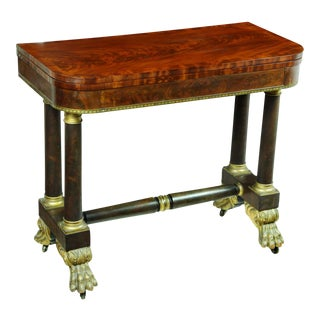 lassical Stenciled Mahogany Card Table