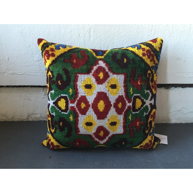 Vintage Multi-Colored Silk Velvet Ikat Pillow - Image 2 of 3