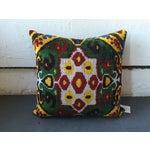 Image of Vintage Multi-Colored Silk Velvet Ikat Pillow
