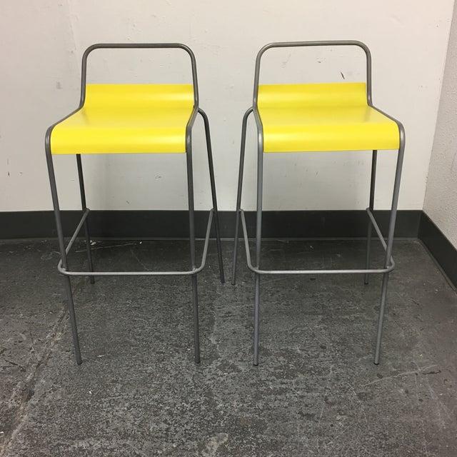 CB2 Yellow & Silver Bar Stools - A Pair - Image 2 of 8