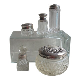 Sterling & Crystal Dressing Table Containers - Set of 5