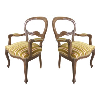 Velvet Upholstered Walnut Balloon Back Armchairs - A Pair