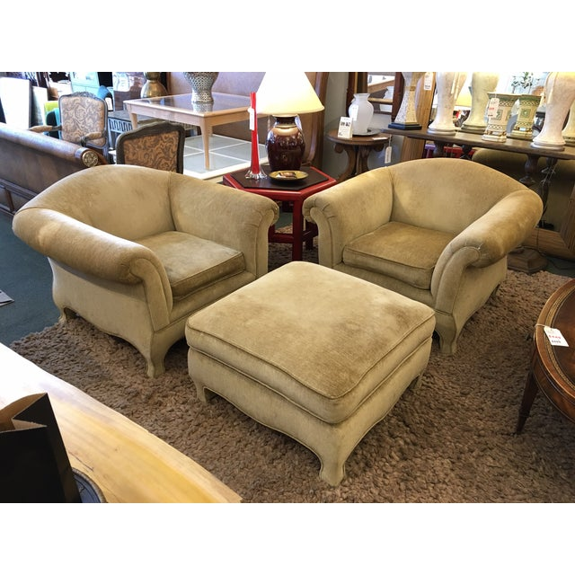 Two Upholstered Roll Arm Chairs & Ottoman - Image 2 of 8