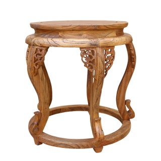Chinese Round Curved Leg Wood Stool Table