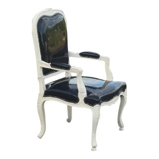 French Style Painted Wood Frame & Black Patent Leather Arm Chair