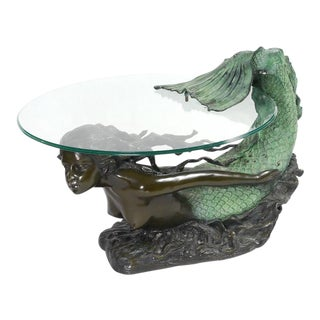 Auguste Moreau Bronze Mermaid Coffee Table Sculpture