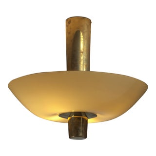 Paavo Tynell Chandelier or Flush Mount, Brass with Yellow Glass, Idman, 1950s