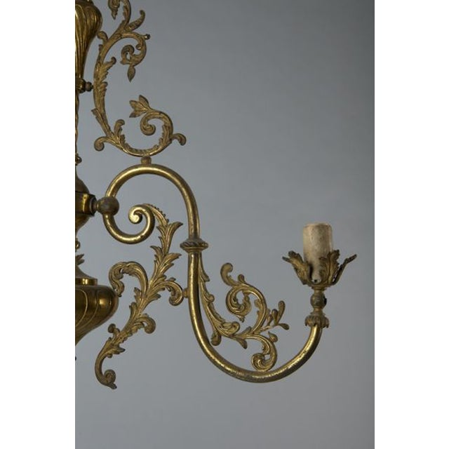 French Three Light Solid Cast Brass Chandelier - Image 7 of 8