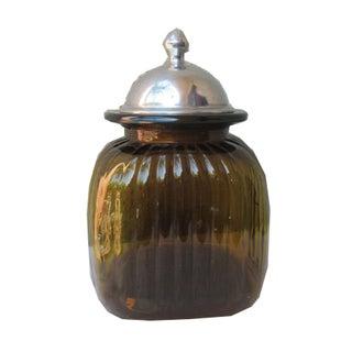 Hollywood Regency Vintage Glass Canister Jar