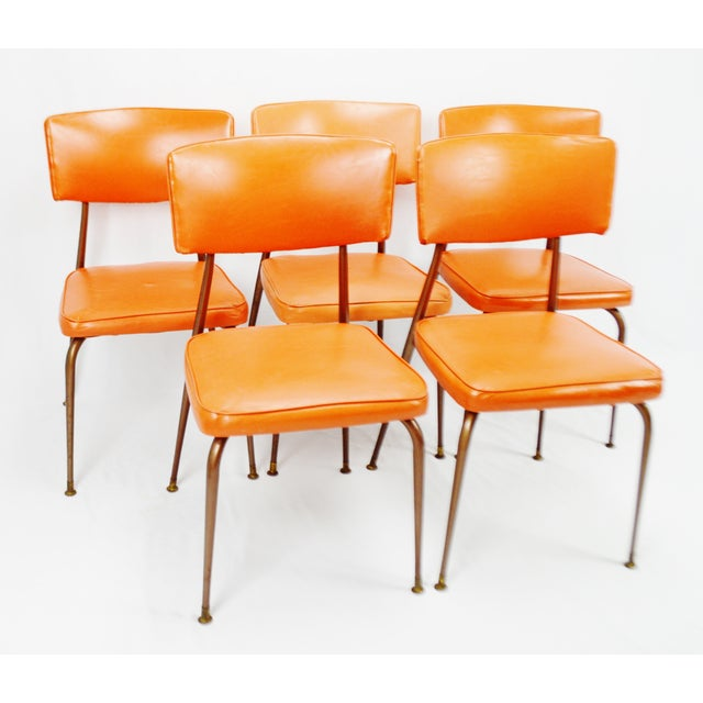 Mid Century Modern Orange Dining Chairs Set Of 5 Chairish