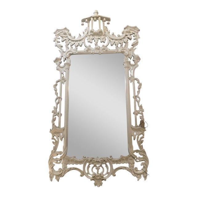 White Lacquered Labarge Pagoda Mirror - Image 1 of 7