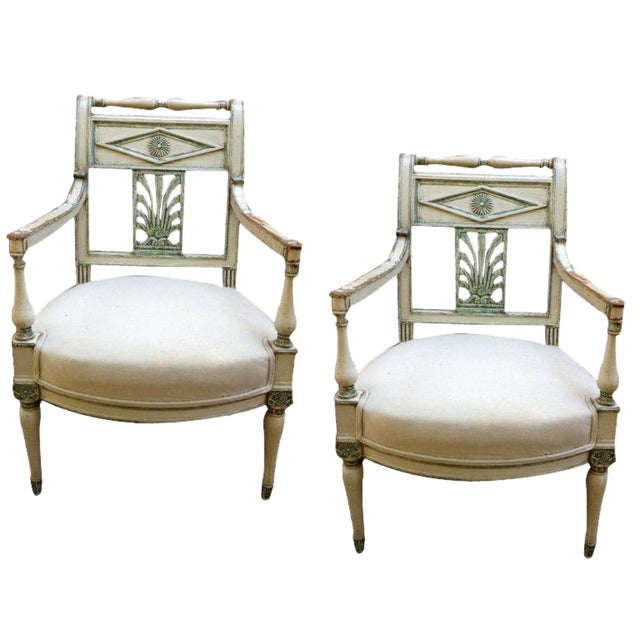 Pair of French Empire Painted Fauteuils - Image 1 of 5