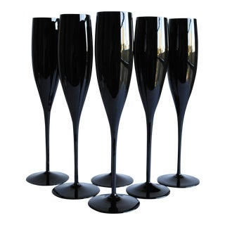 Black Champagne Flutes - Set of 6