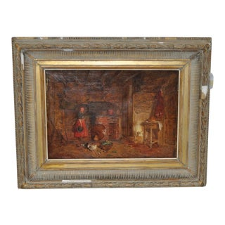 """Alfred Provis """"Young Domestic"""" Original Oil Painting"""