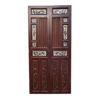 Antique Chinese Hand Carved Wooden Doors - a Pair