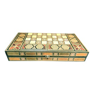 Large Mother of Pearl Inlay Wood Box or Game Board Chest
