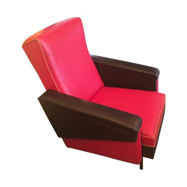 Mid Century French Red Amp Black Vinyl Club Chair Chairish