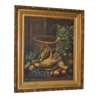 Antique J. Wijnants Culinary Still Life Oil Painting