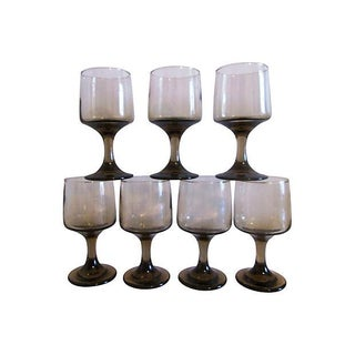 Retro Tawny-Smoke Wineglasses - Set of 7
