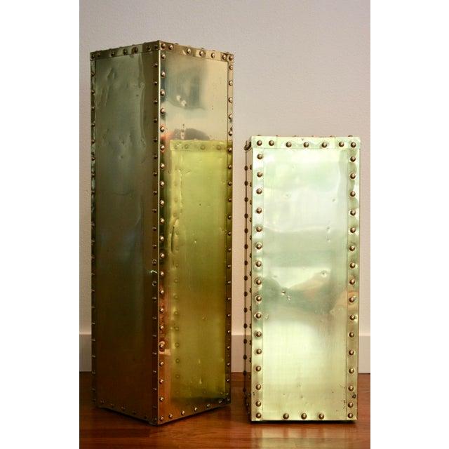 Sarreid-Style Brass Studded Pedestals - A Pair - Image 3 of 11