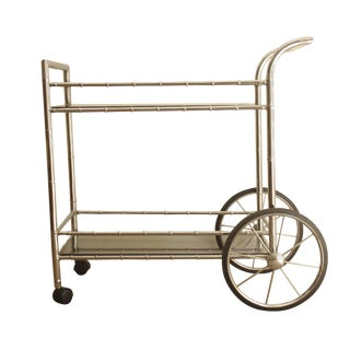 Faux Bamboo Chrome Serving Bar Cart