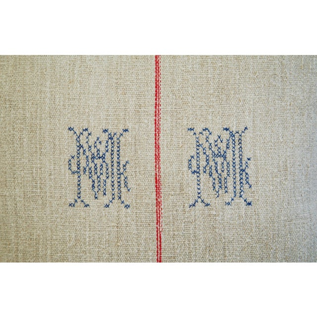 1940s French Grain Sack Textile Pillow - Image 4 of 7