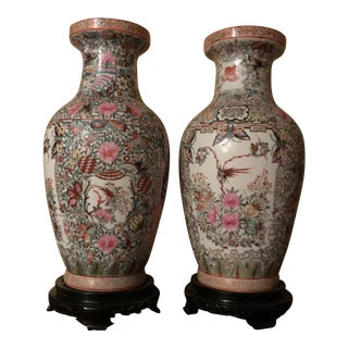 Large Chinese Jardinieres With Familia Rose Enameling - a Pair