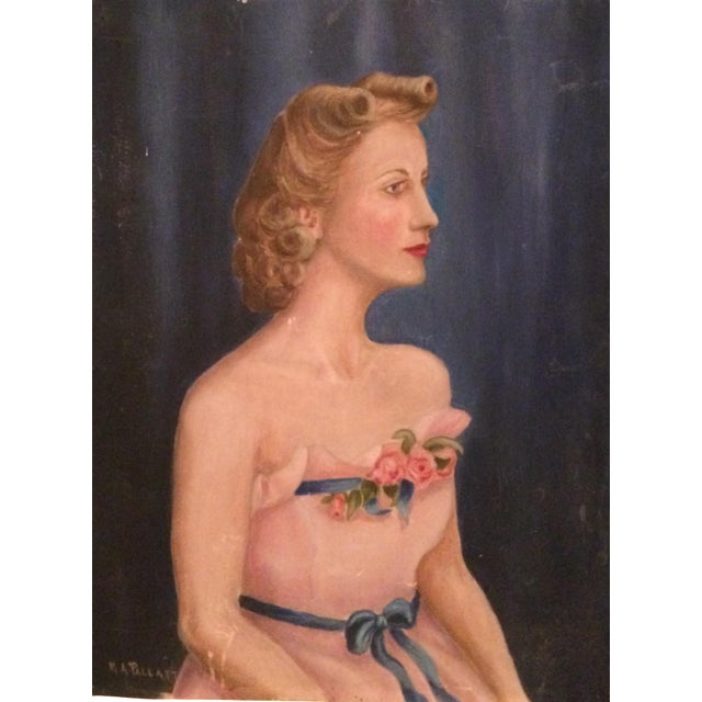 Vintage Beauty Queen Oil Portrait Painting - Image 1 of 7
