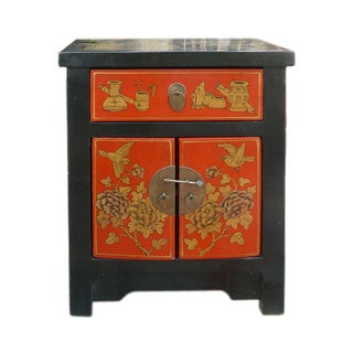 Chinese Elm Wood Black & Red Golden Nightstand
