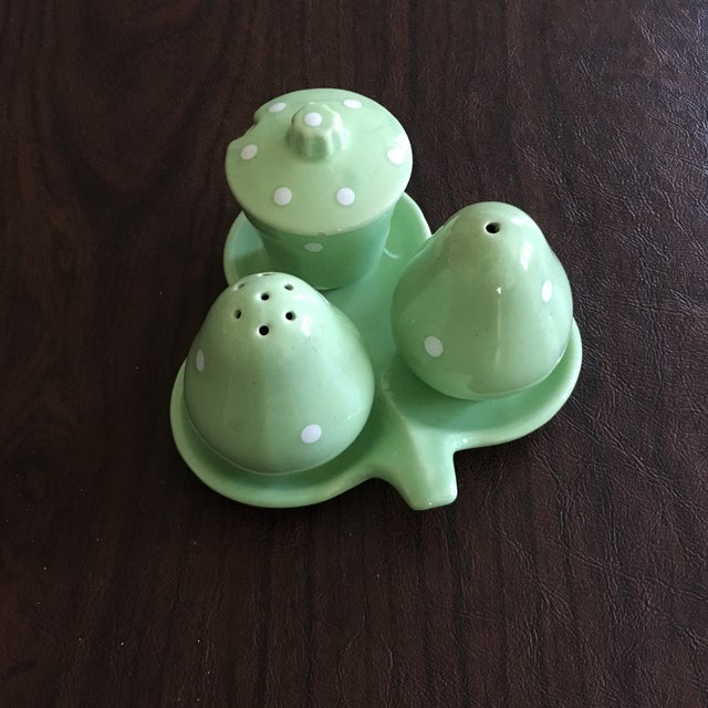 Mid-Century Mint Green Salt & Pepper Shaker - Set of 3 + Plate - Image 2 of 8