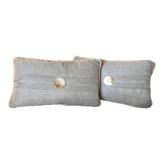 Rope Trim & Mother of Pearl Complete Nautical Decor Pillows - Set of 2, Feather Inserts Included