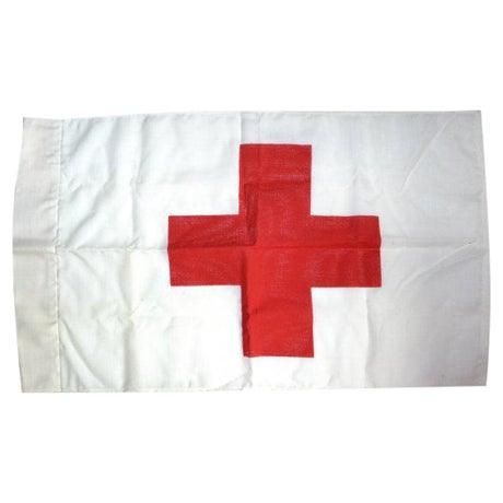 Image of Vintage Red Cross Flag Red Cross Marker Wall Art