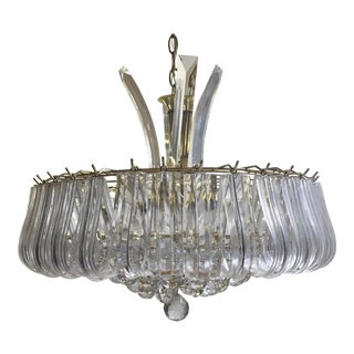 Vintage Brass and Lucite Waterfall Chandelier