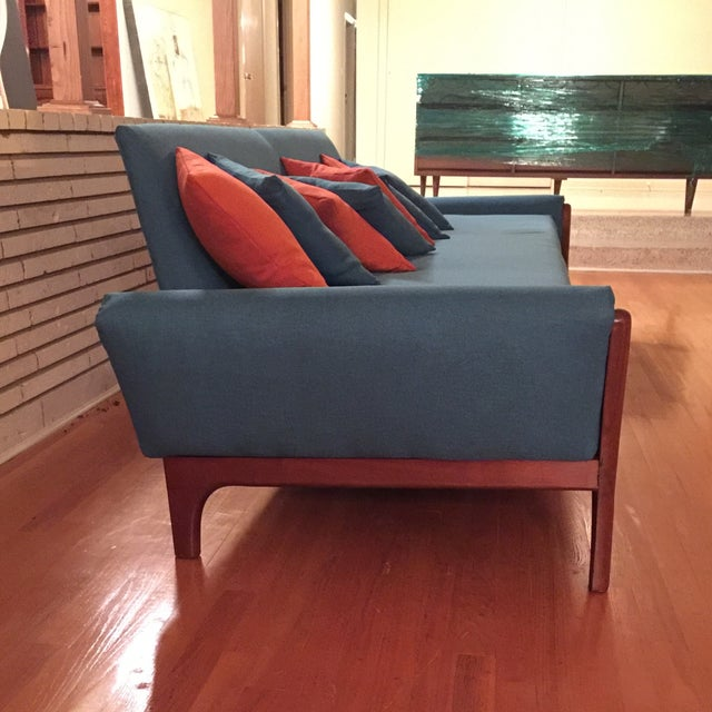 Reupholstered Danish Modern Wing Arm Sofa - Image 5 of 10